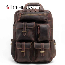 Fashion Vintage Crazy Horse Genuine Leather Travel Daypacks Men Laptop School Backpack