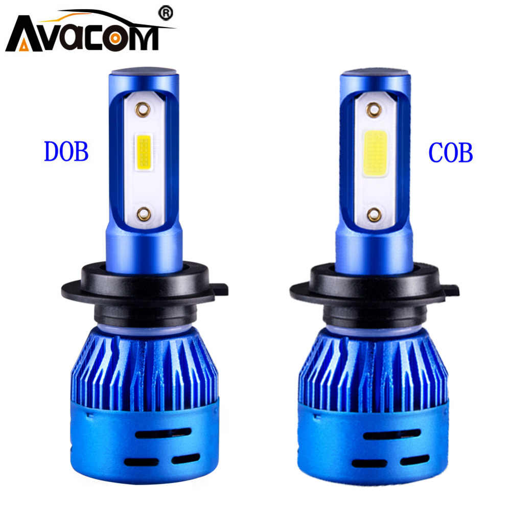Avacom 2 Pcs Mini LED H1 H7 Car Bulbs 12V LED H11 9005/HB3 9006/HB4 24V COB/DOB 6500K 72W 8000Lm LED H4 Turbo Auto Ice Lamp