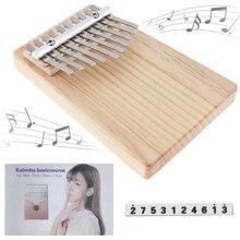 10 Key Kalimba Solid Wood Thumb Piano Mbira Keyboard Instrument with Tone Sticker thumb piano portable beginner instrument thumb piano 10 tone kalimba 10 fingers finger piano wear resistant