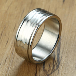 ZORCVENS Unique Hammered-Finished Ring for Men 8mm Stainless Steel Wedding Band Ring Wholesale