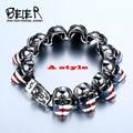 Beier pulseira de aço inoxidável 316l homens pulseira do punk crânio bandeira americana do vintage fresco jóias bc8-025