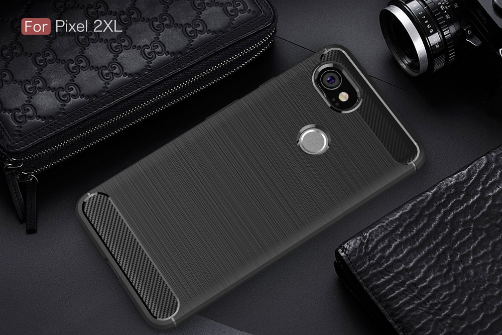 For Google Pixel 2 / 2XL Luxury Slim Armor Soft Silicone Back Cover Case For Google Pixel 2 XL Brushed Carbon Fiber Coque