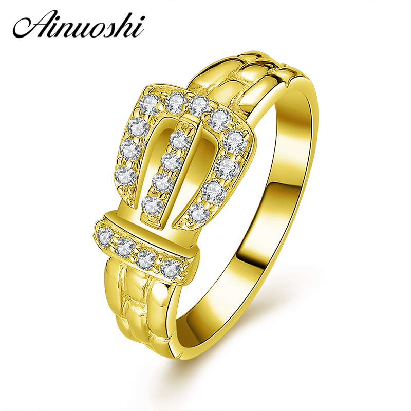 AINUOSHI 10K Solid Yellow Gold Queen Crown Ring Round Cut Sparkling CZ Cluster Ring Luxury Bridal Ring Engagement Women Jewelry ainuoshi exquisite queen crown ring 10k solid yellow gold flower ring women jewelry engagement wedding birthday party heart ring