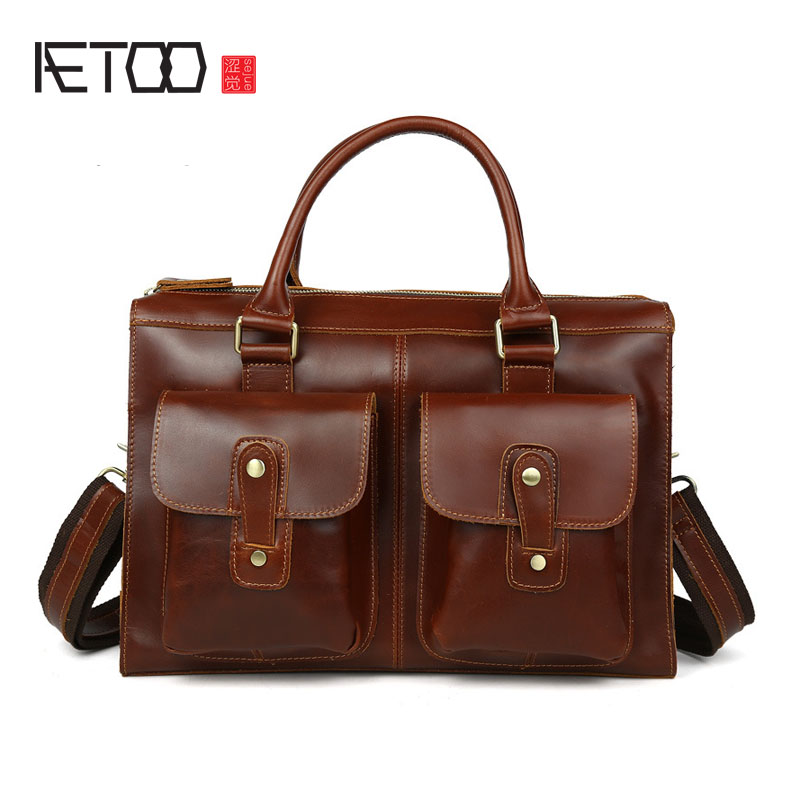 AETOO Men 's Retro Men' s Genuine Leather Cowhide Shoulder Bag Business Briefcase Briefcase new men s bag genuine leather briefcase men classic business briefcase handbag office shoulder bag for men cowhide bags li 1128