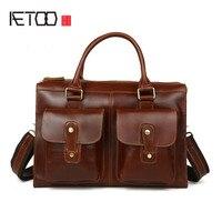 AETOO Men 's Retro Men' s Genuine Leather Cowhide Shoulder Bag Business Briefcase Briefcase