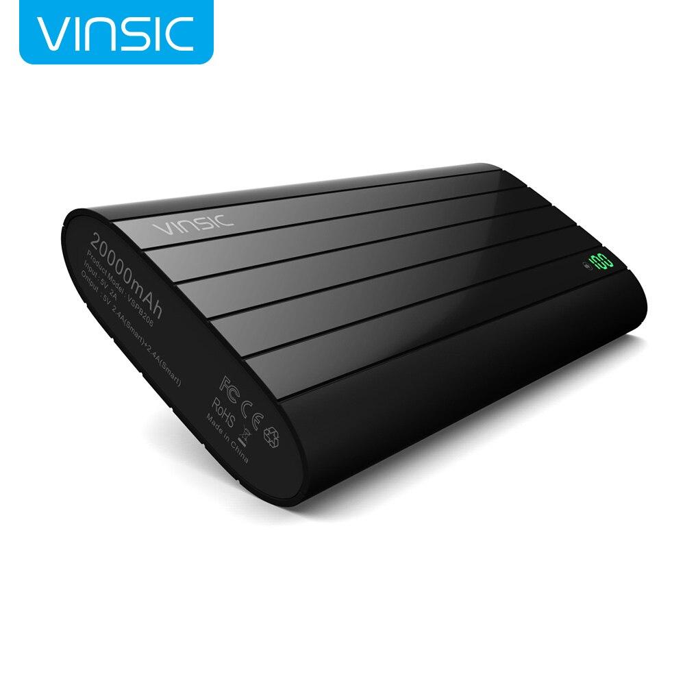 imágenes para Vinsic Negro 20000 mAh Banco de la Energía de Identificación Inteligente Dual USB Cargador de Batería Externo Portable para el iphone Samsung Xiaomi HTC