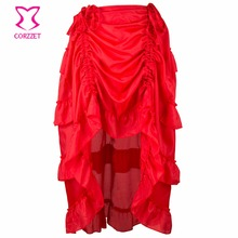 Fashion Women Club Party Vintage Skirt Victorian Red Ruffle Chiffon Lift Up Front Gothic Skirts Steampunk Sexy Corset Petticoat