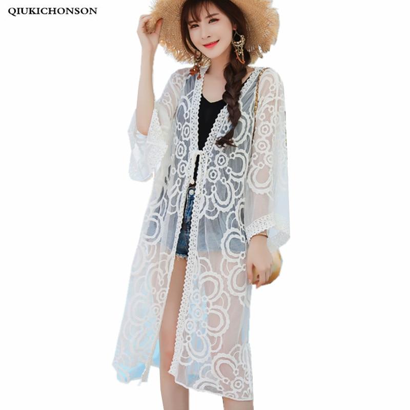 Qiukichonson Womens Cardigan Long Sleeve 2018 Summer Fashion Bohemian Bikini Cover Up Sweet Flower Embroidery Long Lace Cardigan