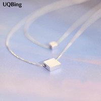 Drop Shipping 925 Sterling Silver Necklaces Square Block Double Silver Necklaces Pendant Jewelry Collar Colar