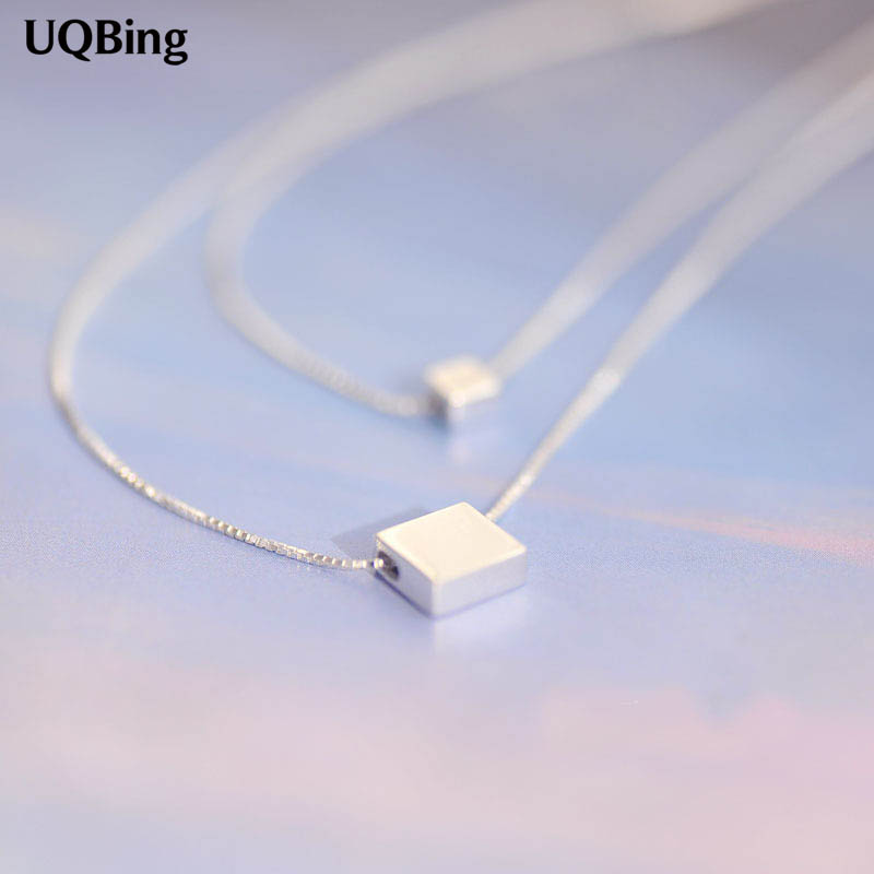 Drop Shipping 925 Sterling Silver Necklaces Square Block Double Silver Necklaces&Pendant Jewelry Collar Colar
