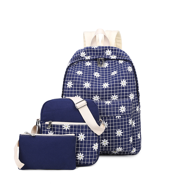 Flowers Printing Women Backpack Set School Bags For Teenage Girls Canvas Printing Candy Color 2016