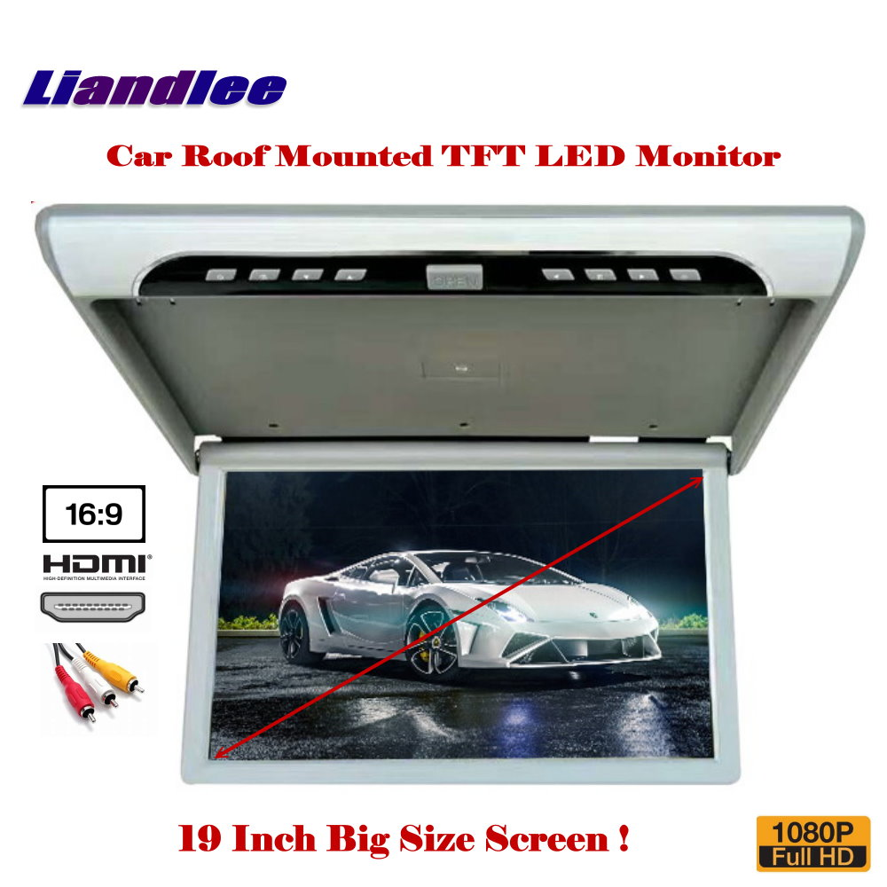 19 Inch Car Roof Mounted Monitor / Flip Down Display / Overhead Ceiling TFT LED Screen / 1080P HD MP5 Player RGB Digital TV gizcam 10 2 car ceiling flip down overhead roof mount hd screen video monitor car flip down monitor new