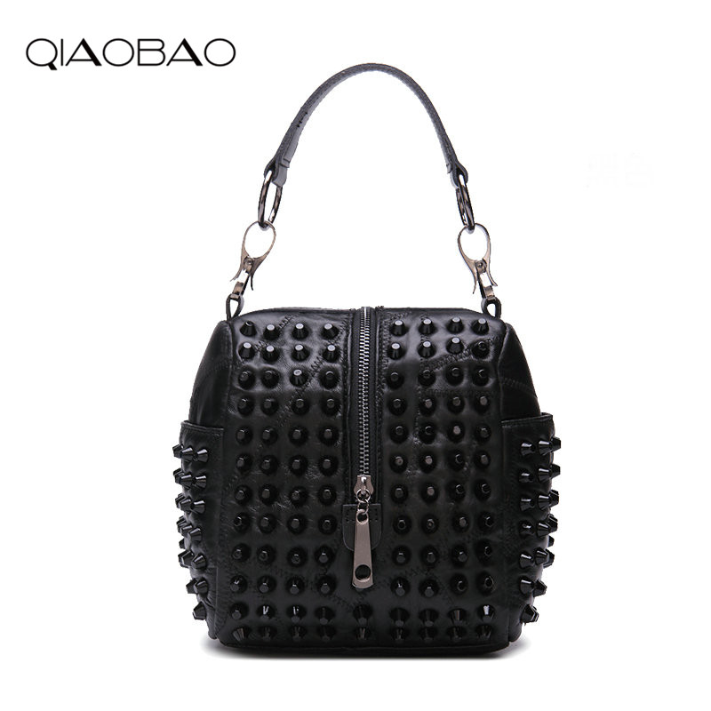 QIAOBAO brand women genuine leather shoulder bag Real Sheepskin Bag Rivet small handbag casual tote bag lady crossbody bag rdywbu brand genuine leather tote handbag 2017 women colourful flowers patchwork shoulder bag plaid messenger crossbody bag b293
