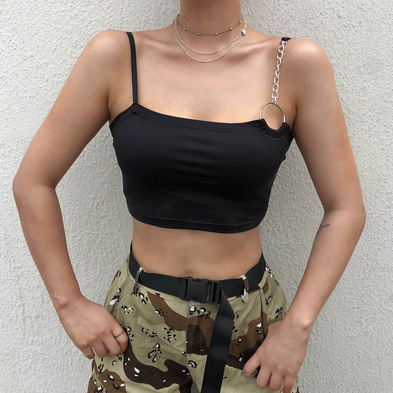 Black Sleeveless Tanks Top Camisole Femme 2018 Summer Solid Cropped Feminino Crop Top <font><b>Haut</b></font> Femme <font><b>Sexy</b></font> Cami Top Shirts image
