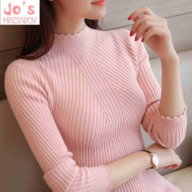 De las mujeres suéteres y de Color sólido de cuello alto delgado Casual señoras suéter de punto de invierno nueva Chic encaje Jersey