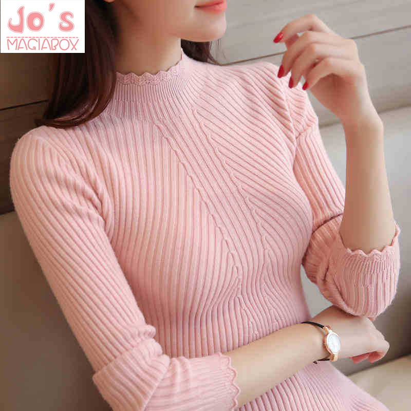 Knitting Girls Sweaters And Pullovers Strong Colour Turtleneck Slim Informal Women Knitted Sweater Winter New Stylish Lace Pullover