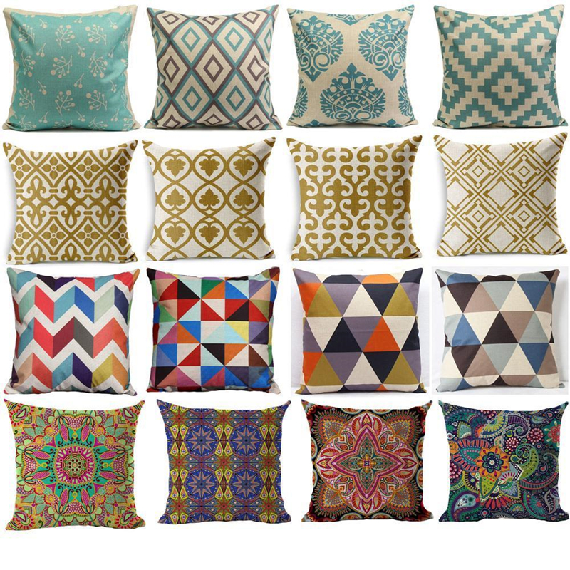 Pillow Case Geometric Shape Pillowcase Cotton Linen Ethnic Pillow Cover Bedroom 18x18 Inches Throw Pillows Covers