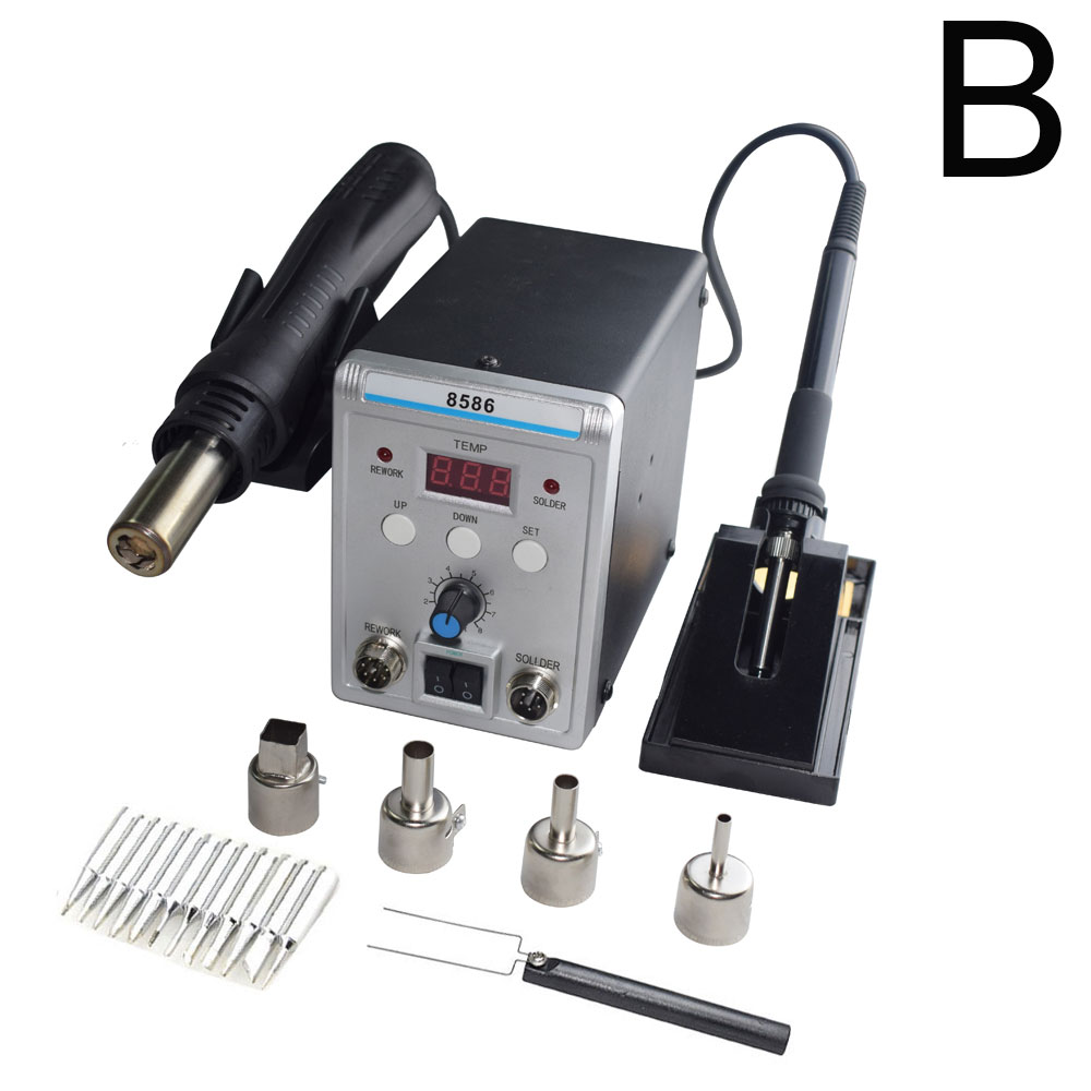Advanced Lead-free SMD Soldering Station LED Digital Solder Iron Hot Air GUN Blowser Eruntop 858D 8586