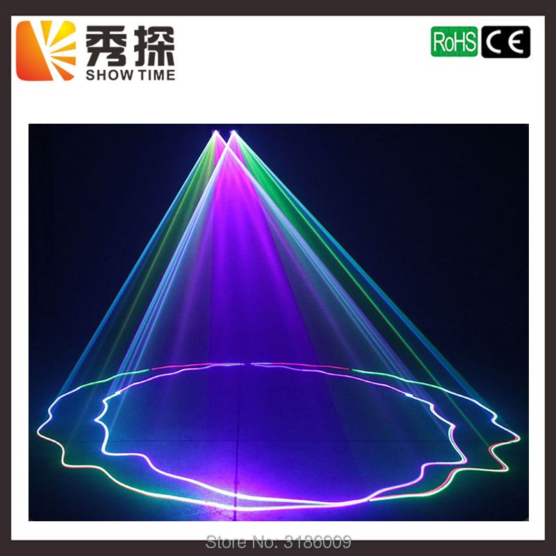 все цены на Hot sales 2 Lens Red Green Blue RGB Beam Laser Light DMX 512 Professional DJ Party Show Club Holiday Home Bar Stage Lighting