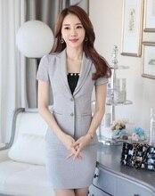 Novedad Gris Profesional Business Women Trajes Tops Y Falda Uniforme Formal de 2016 de Primavera y Verano Estilo de La Manera Blazers Trajes