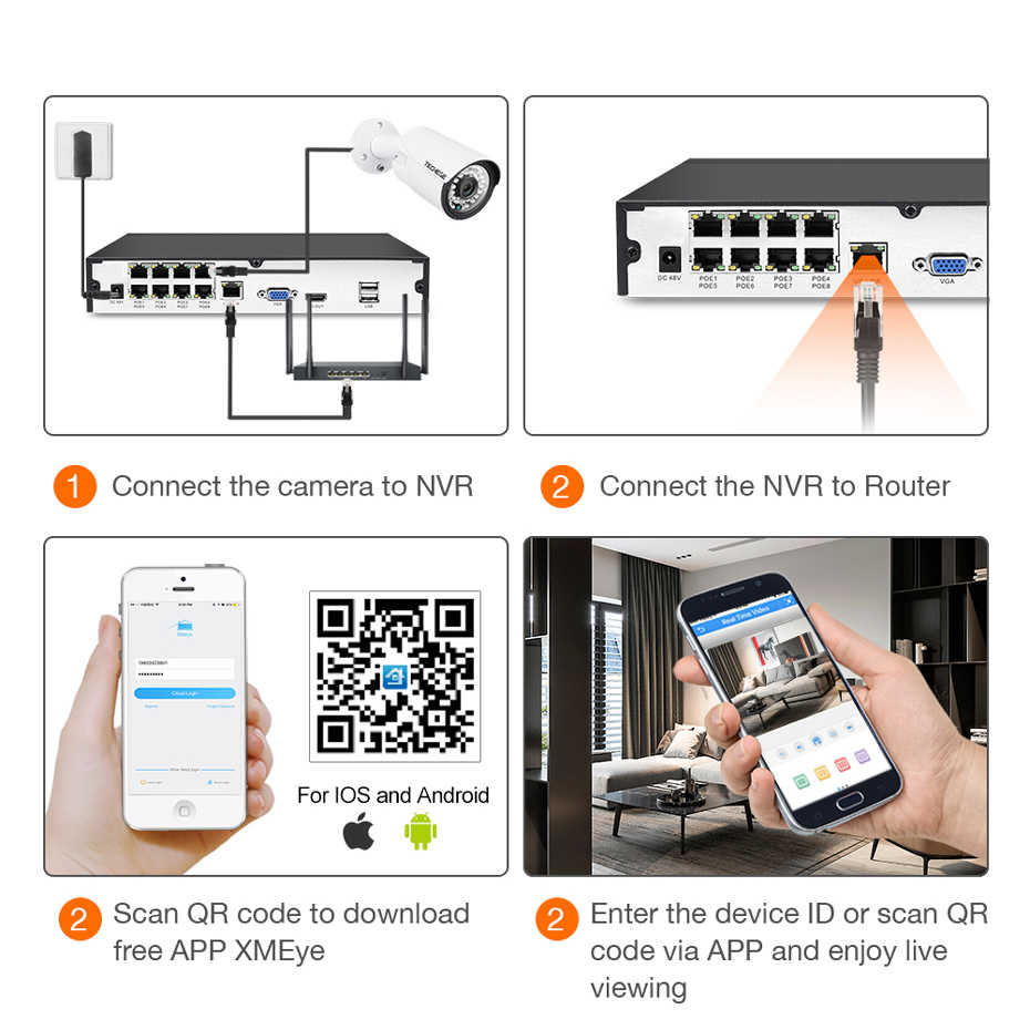 Techege 8CH 1080 P POE NVR комплект 2MP 3000TVL PoE ip-камера P2P Аудио CCTV система IR наружного ночного видения комплект видеонаблюдения