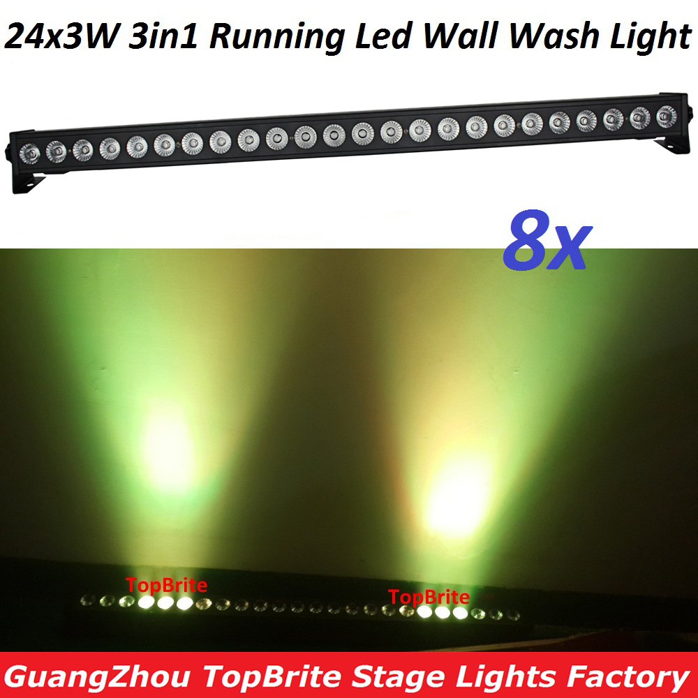 8XLot Free Shipping 24X3W LED RGB 3IN1 LED Wall Wash Light DMX 512 Flashlight LED Bar