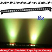 8XLot Free Shipping 24X3W LED RGB 3IN1 LED Wall Wash Light DMX 512 Flashlight LED Bar Wall Wash Stage Light Party Wedding Stage