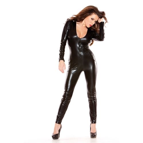 Buy ENGAYI Women Fashion Faux Leather Latex One Piece Deep-V Lenceria Sexy Underwear Costumes Porno erotic lingerie Nuisette  A1046