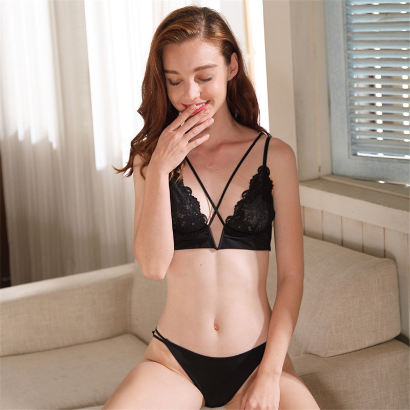 Image 3 - New Sexy French Ultra thin Bralette Lace Embroidery Full Cup Underwear Sexy Hollow Deep V Push Up Bra Set Women Lingerie PantyBra & Brief Sets   -