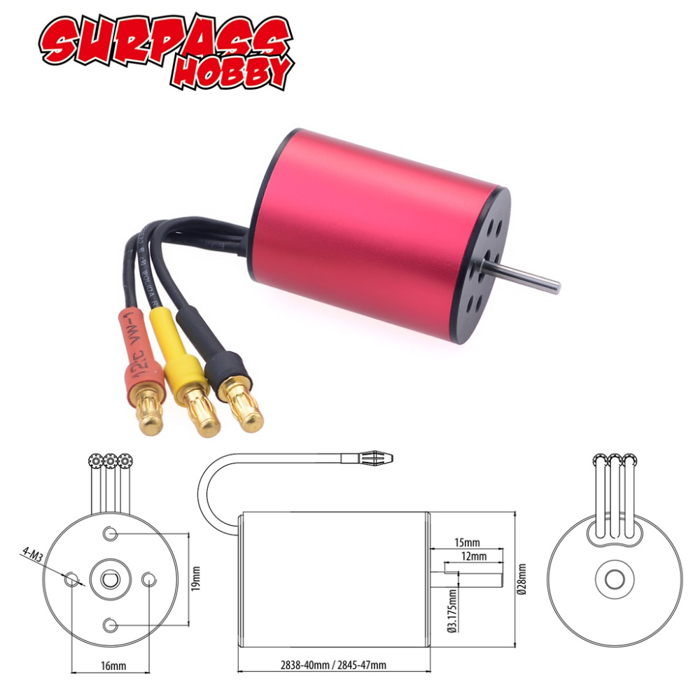 Image 2 - Waterproof KK 2845 3.175mm 2600KV 2800KV 3100KV 3800KV 4370KV 4400KV 5900KV Brushless Motor for Traxxas/HSP 1/12 RC Car-in Parts & Accessories from Toys & Hobbies