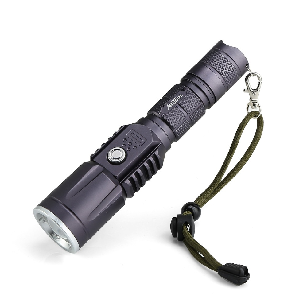ANJOET 2000lm Rechargeable Flashlight Torch 3modes mobile power XM-L2 LED flash lamp + USB adapter + 18650 battery + usb cabl