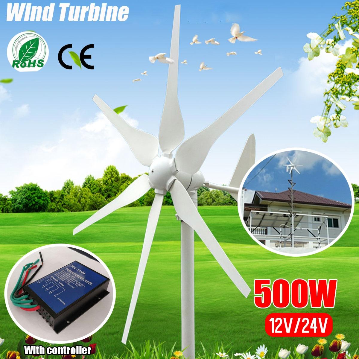 2018 DC 12 v/24 v 500 w 6 Lames Miniature Vent Turbines Résidentiel Maison Éoliennes Générateur Avec contrôleur pour un Usage Domestique