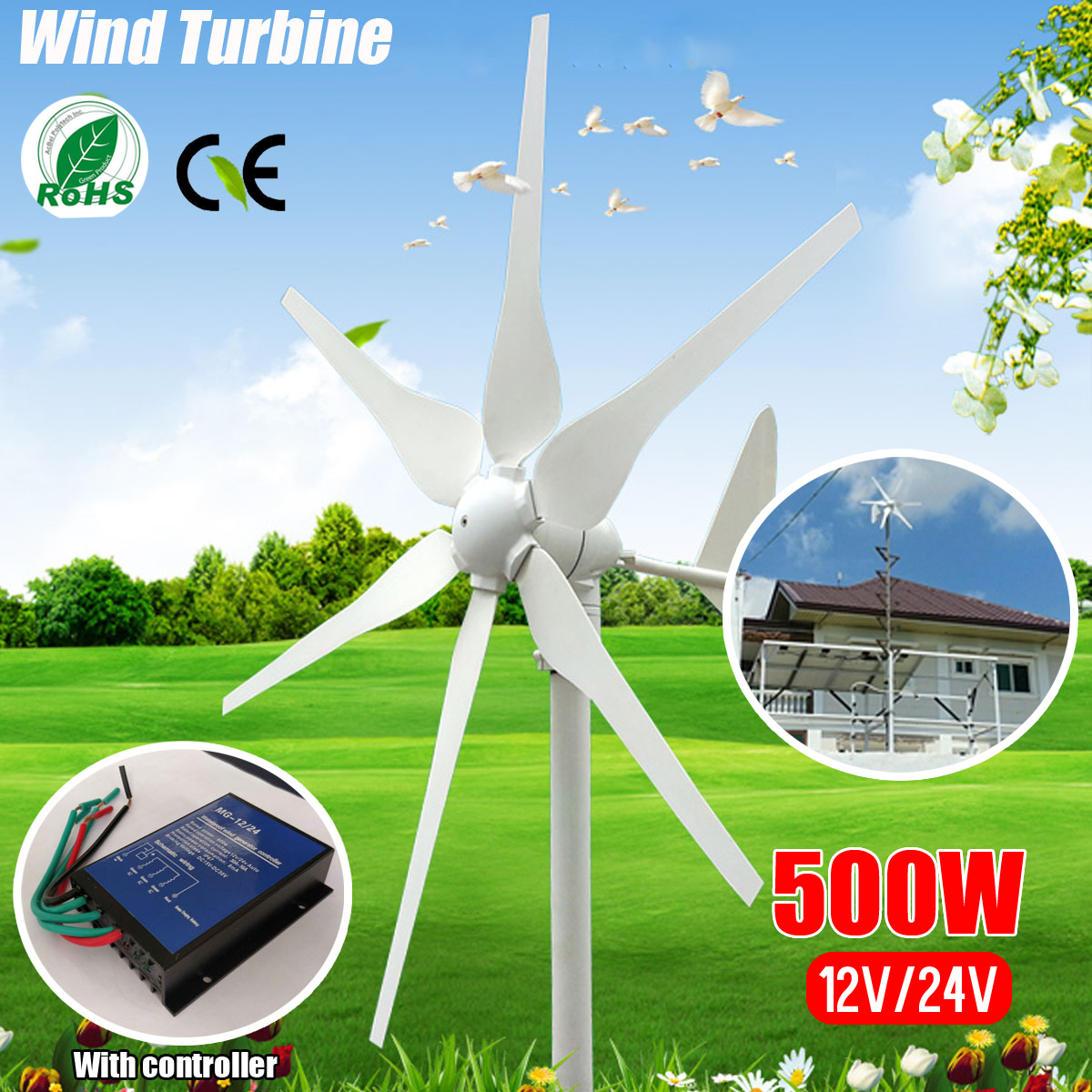 2018 DC 12V/24V 500W 6 Blades Miniature Wind Turbines Residential Home Wind Turbines Generator With Controller for Home Use цена