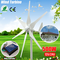 2018 DC 12V/24V 500W 6 Blades Miniature Wind Turbines Residential Home Wind Turbines Generator With Controller for Home Use