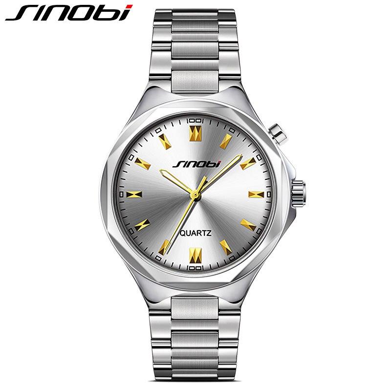 ФОТО SINOBI Fashion Watch Men Full Steel Analog Quartz Luminous Wristwatch 3ATM Waterproof Business Casual Watches Relogio Masculino