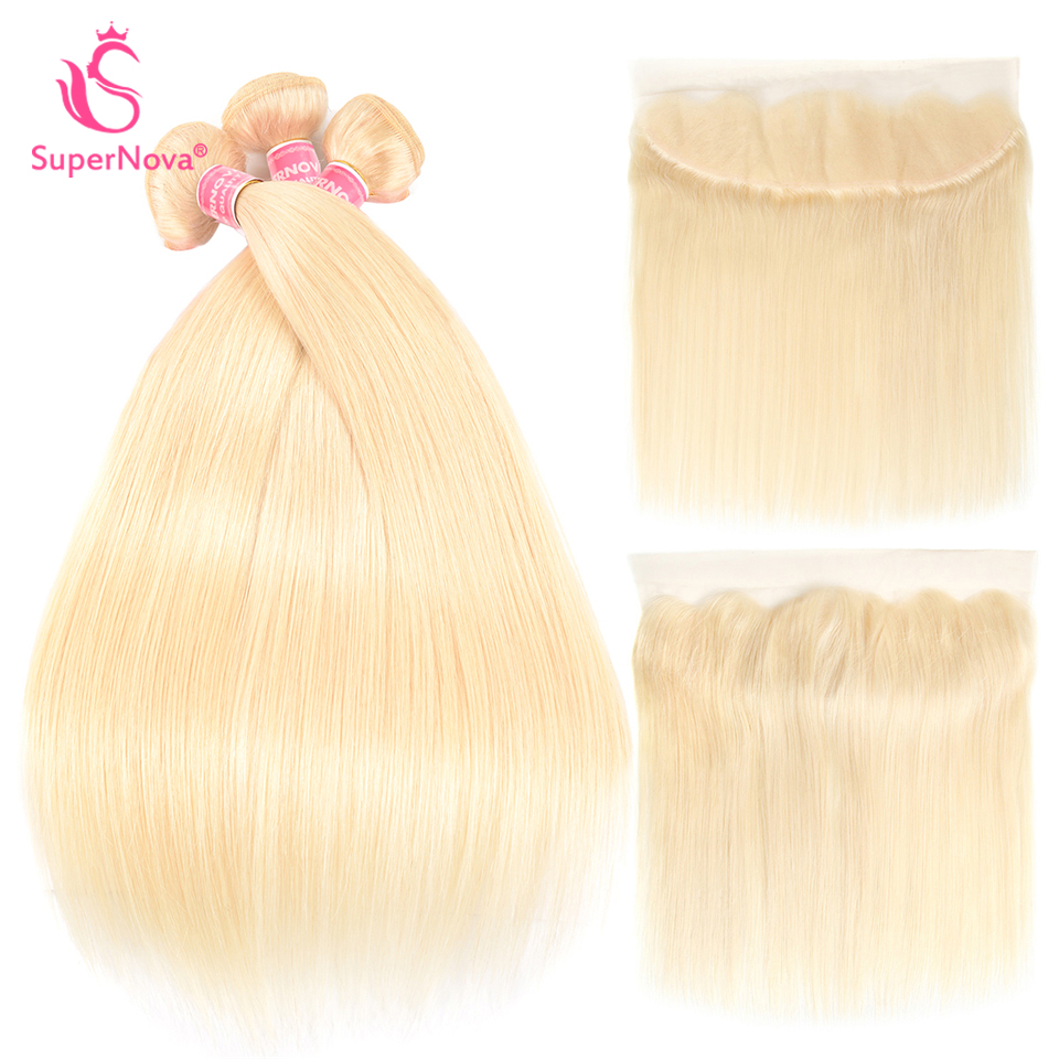 Supernova Hair 3pcs 613 Blonde Bundles With Frontal Brazilian Straight Human Hair Lace Frontal Closure With Bundles