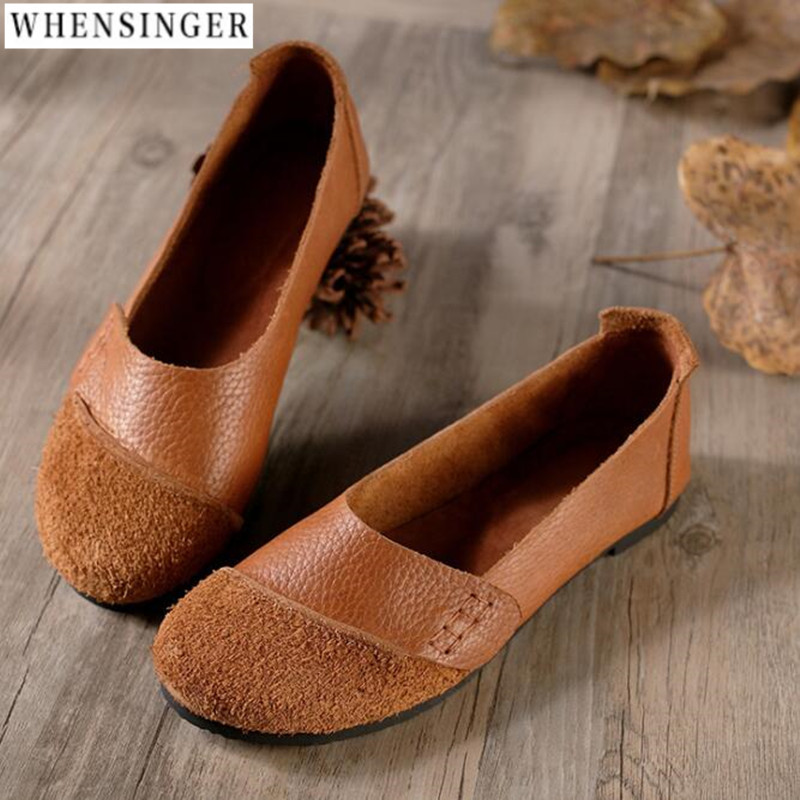 2018 Split Genuine Leather Oxford Flat Shoes For Women New Spring Slip-on Round Toe College Casual Fashion Ladies Lazy Loafers
