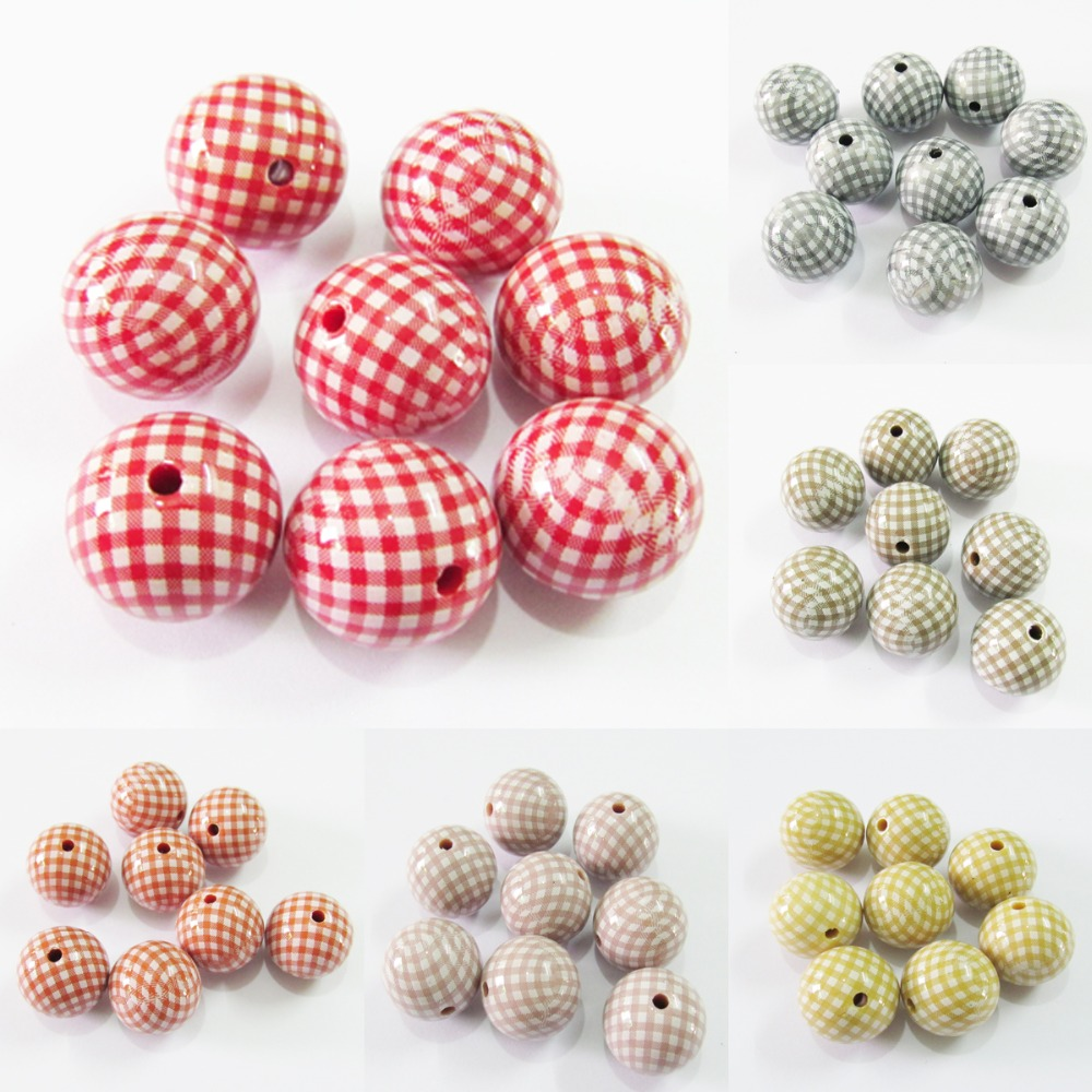 (Choose Color First) Newest  20mm  100pcs/lot  Chunky Bright Acrylic Printed Chequer Beads For Fashion Jewelry