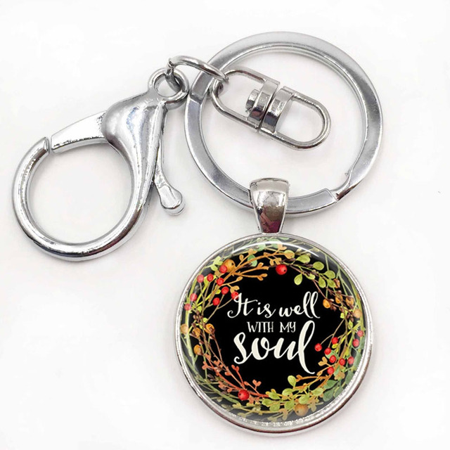 It Is Well With My Soul Keychain Religious Jewelry Bible Pendant Key Ring Gift For Her