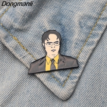 DMLSKY Men Brooch inspired Dwight Schrute Pin Funny Brooches for Clothes Bags Tie Pins Jewelry M2755