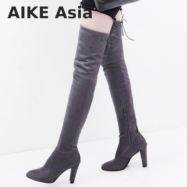 971ef2d0c Aike Asia New Over The Knee Boots Women Shoes Winter Stretch Keep Warm High  Heels Long ShoesElastic Band