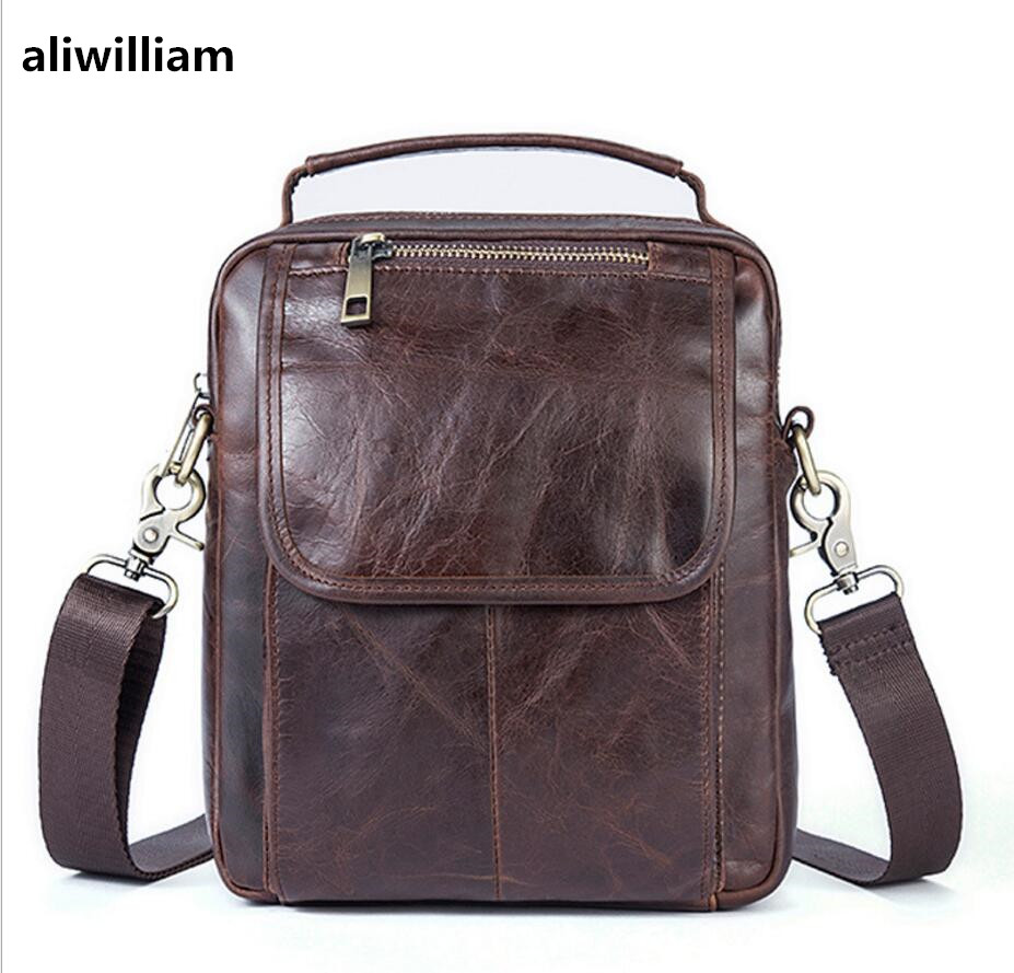 ALIWILLIAM Men 's Genuine Leather Bag Retro Casual Shoulder Bag Men' s First Layer Leather Zippers Messenger Bag Shoulder Bag aetoo leather men s first layer of leather men s messenger bag shoulder bag korean new casual vertical section across the packag