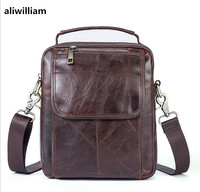 ALIWILLIAM Men S Genuine Leather Bag Retro Casual Shoulder Bag Men S First Layer Leather Zippers