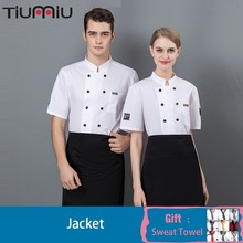Chef Jacket Kitchen Shirt Summer Food Service Uniform Dining Hall Unisex Barbershop Work Clothes Free Scarf Gift Reposteria