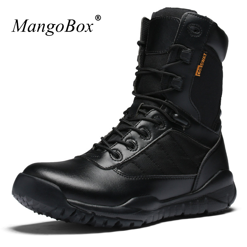 KERZER 2017 New <font><b>Mens</b></font> Mountain Boots Leather Outdoor Trekking Sneakers Black Army Boots for <font><b>Men</b></font> Breathable Hunting Boots Brand