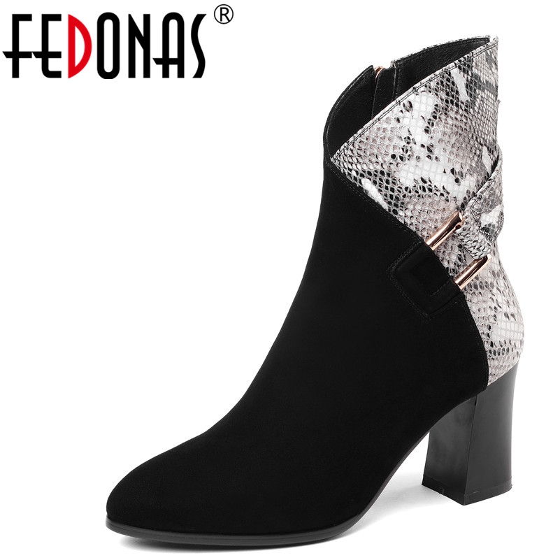 FEDONAS Fashion Women Ankle Boots Genuine Leather Autumn Winter Warm High Heels Shoes Woman Buckle Round Toe Quality Basic Boots european style autumn genuine leather fashion ankle boots round toe zipper belt buckle high heels motorcycle boots women boots