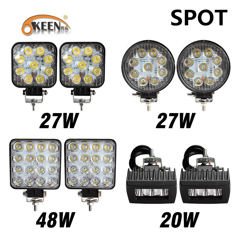 OKEEN 2pcs 20W 27W 48W 4inch LED Light Bar LED Offroad LED Work Light Car 4WD Truck Tractor Boat Trailer 4x4 SUV ATV 12V Spot