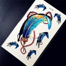 Fashion Feather Designs Waterproof Fake Tattoo Women Body Art ARm Tattoo Makeup HAQ-170 Henna Temporary Tatoo Stickers