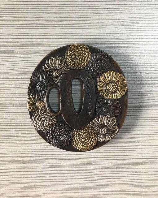 Épée Tsuba fleur Design samouraï japonais | Accessoires de protection Wakizashi, placage brun Antique avec dieu/argent nouveau