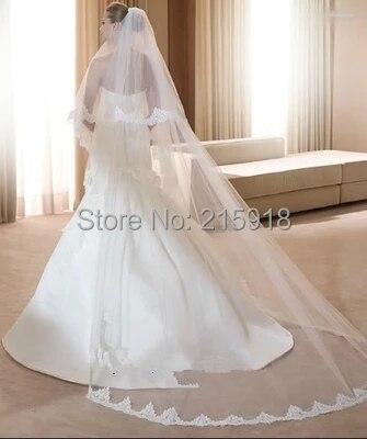 581eedb43 Mejor venta alta calidad weddingl velos catedral capas dobles elegantes  soft nupcial velos de encaje fuerte velos para las novias 2016 en Velos de  novia de ...